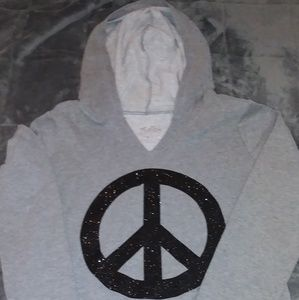 Hoodie with sparkly peace sign